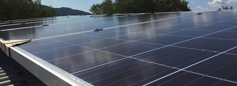 Finca Feliz - solar panels on the garage roof