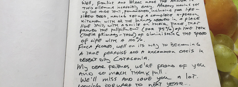 Finca Feliz - a Thank You in the visitors book